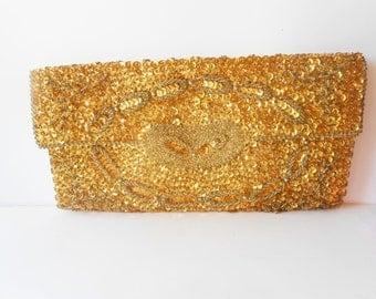 Gold Evening Bag Vintage Richere Bag by Walborg 1950s EB-0324