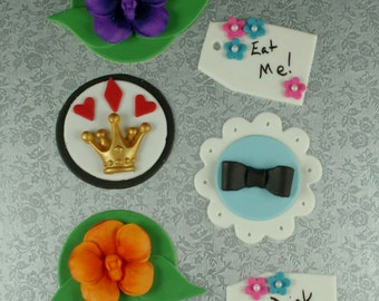 12 Edible Alice in Wonderland Fondant Cupcake Toppers - Crown, Eat Me Tag, Orchid, Dress