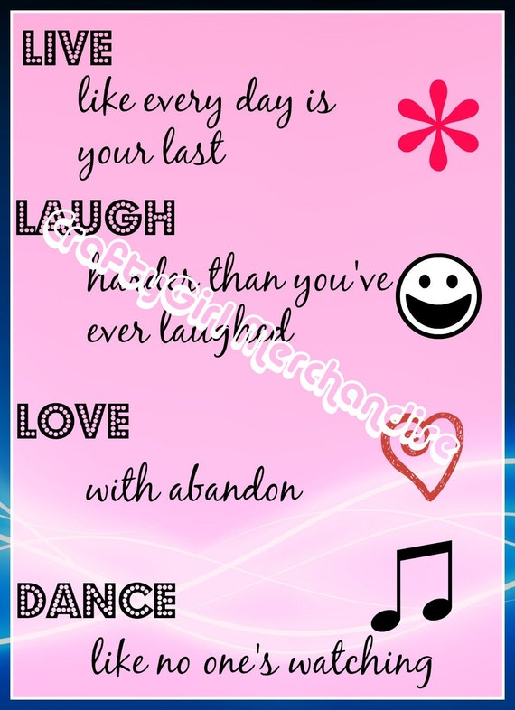 Live, Laugh, Love, Dance Pink Printable Wall Art - Instant Download - Girls Room Art Work Printable Download Pink