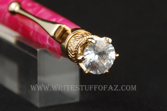 Hot Pink Crush Twist Pen, Adorned with Swarovski Crystal and Finished in 24k Gold