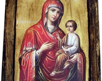 VIRGIN MARY - Orthodox icon on wood handmade (22cm x 17.5cm)
