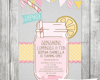 Girls First Birthday Lemonade Invitation - 5x7 JPG DIGITAL FILE