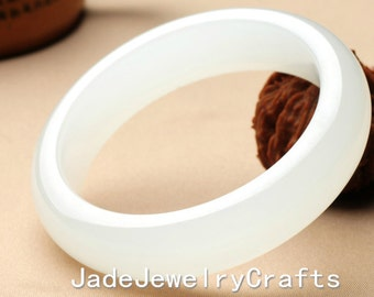 white jade bangle, white jadeite jade charm bangle - Customize size ( 52mm - 66 mm )