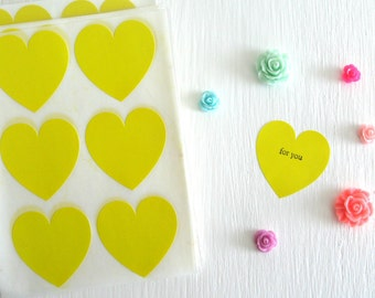 SALE ~ 24 Bright Yellow Heart Stickers Heart Envelope Seals 1.5""