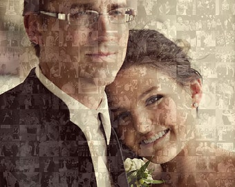 Wedding Groomsmen / Best Man Gift- 16x20 Inch Personalized Custom Photo Collage Mosaic