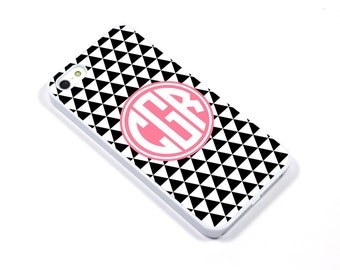 iPhone 5/5s iPhone 5c iPhone 6/6plus Samsung Galaxy S3 S4 S5 iPod touch 4th/5th Gen - Monogram Geometric triangle black pink - p03