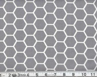 Fabric Honeycomb White on Gray White Gray Hexagon Cotton 16 inches