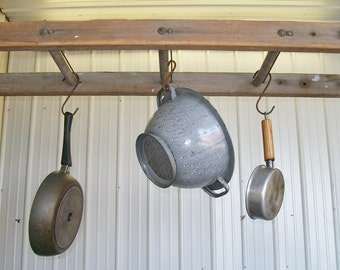 3 Rung Pot Rack using Vintage Ladder - Choose a Vintage Surface or Pick a Color
