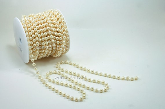 Pearl string beads on a roll spool 66 ft string of pearls strand
