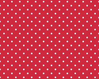 "Half Yard of Riley Blake Designs ""Swiss Dots"" - Swiss Dot White Dot on Red. Dots measure 1/8"" in diameter"