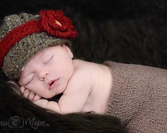 Crochet baby girl newsboy hat visor brim hat crochet Newborn photo props photography boy-Made to order