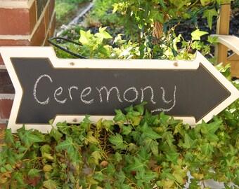 Wedding Directional Chalkboard Arrow Engraved Wood Plaque