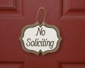 No Soliciting Decorative Engraved Wood Sign