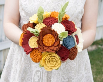 "Felt Bouquet - Wedding Bouquet - Alternative Bouquet - ""Rustic Sunset"""
