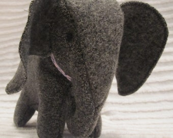Stuffed Elephant Toy Gray Wool Soft Toy