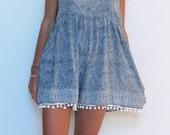 Pom Pom Jumpsuit / Playsuit, Short Beach Dress, Navy & White Skort Shorts