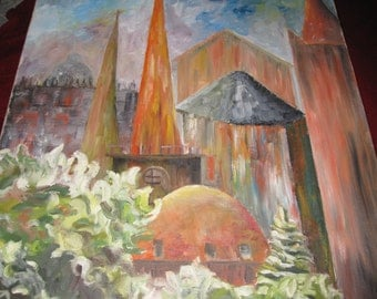 """LARGE VINTAGE PAINTING-Oil Painting of Church Signed Carlton 1969 Measures 24"""" x 34"""""""