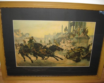 "THE CHARIOT RACE-Framed In It's Original Antique Frame and Matted In (New) Black Mat 1904 Frame Measures 22 1/2"" x 31"""