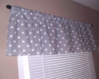 Handmade Curtain Valance, 50W x 15L, in Gray/White Polka Dot print ,Home Decor,Nursery