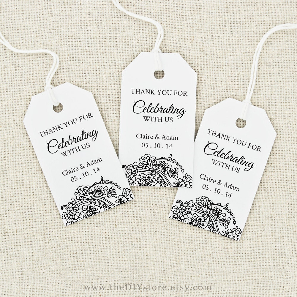 Wedding Thank You Gift Tags Template : Wedding Cards Wedding Gift Tags Template favor tag printable text ...
