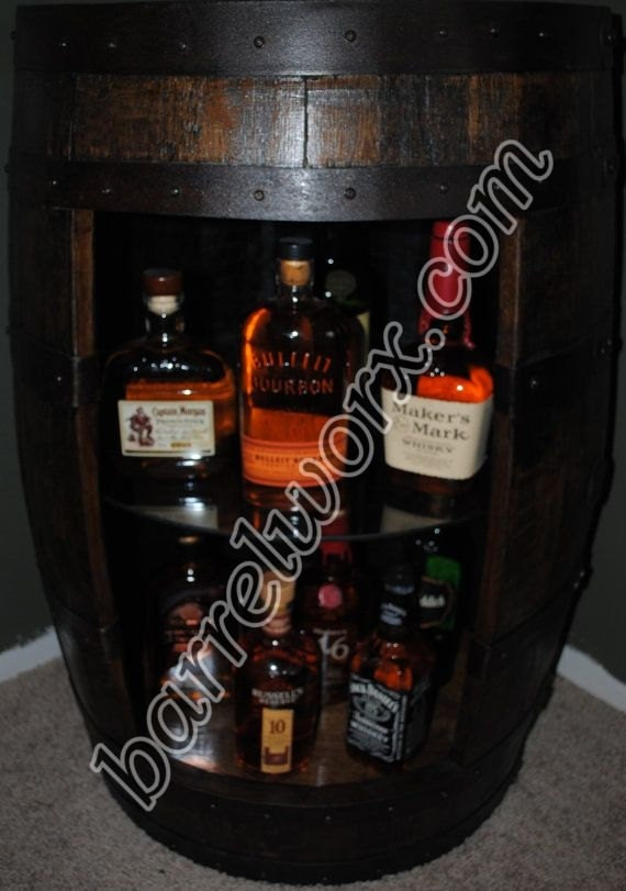 Items Similar To Whiskey Barrel Display Liquor Cabinet
