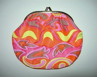 Fab Flower Power Make up,Cosmetic  Bag,Purse,in Pink.Orange,Yellow,1960s Vintage Psychedelic
