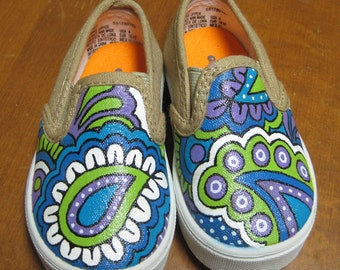 Hand Painted Blue Paisley Baby Sneakers, Size 4