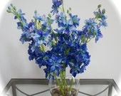 Blue Delphinium Flowers in Glass Vase with Rocks & Faux Water, Zen Home Collection, Feng Shui, Spring Flowers