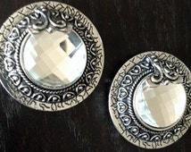 "PAIR Beautiful Large Round Clear Crystal Silver Plugs Tunnels Gauges 5/8"" - 16mm 11/16"" - 18mm 3/4"" - 19mm 7/8"" - 22mm 1"" - 25mm"