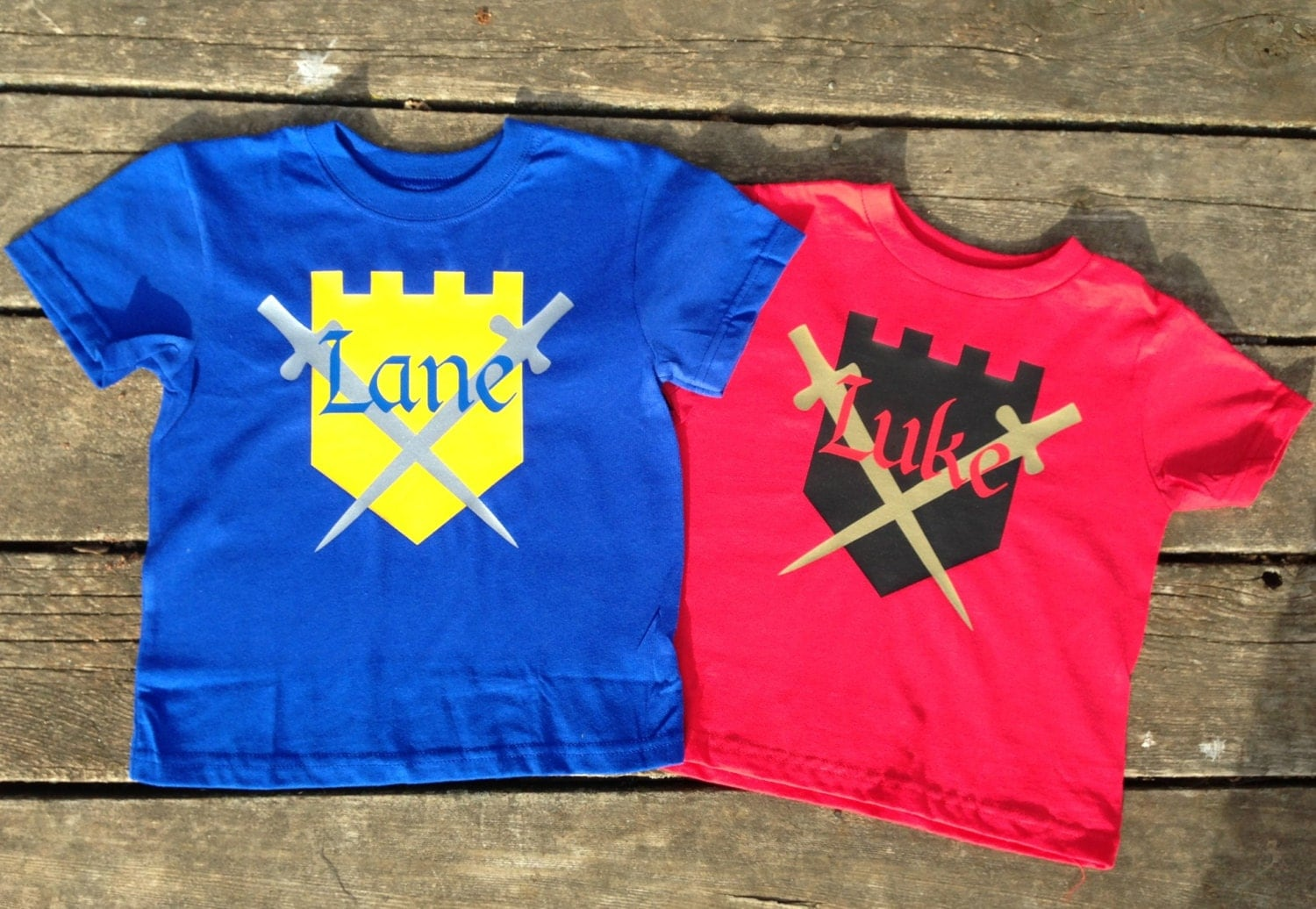 Personalized Knight T Shirt For Kids Custom Shield And Swords