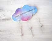 Happiness cloud, inspirational wall hanging, clay cloud, home decor, motivational quote