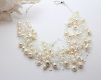 "Airy Crochet Necklace ""LA PERLA"" Wedding Necklace Pearls Freshwater Pearls Seed Beads Necklace White Crystal Silver Swarovsky Crystal"