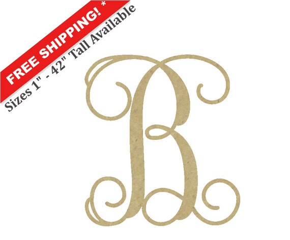 Wooden monogram letter b large or small unfinished for Big wooden letter b