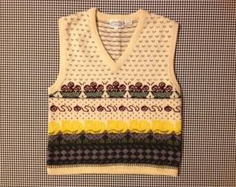 1980's, wool, sweater vest by The Villager, with cats and baskets of yarn