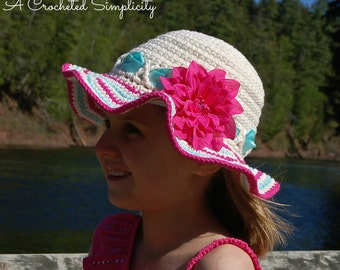 "Crochet Pattern: ""Sweet & Sassy"" Sunhat, Sizes Baby thru Adult, Permission to Sell Finished Items"