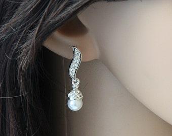Bridal Pearl Earrings, Bridal Earrings Pearl , Pearl Earrings,  Wedding Earring, Pearl Bridal Jewelry