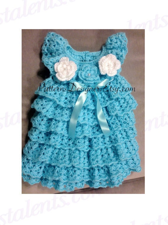 Crochet Ruffled Baby Dress Pattern : SALE 0-12 Months Crochet Baby Layers by SuziesTalentPatterns