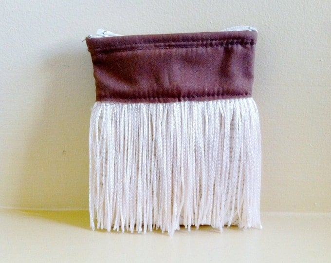 Fringe Brown and White Zipper Coin Purse