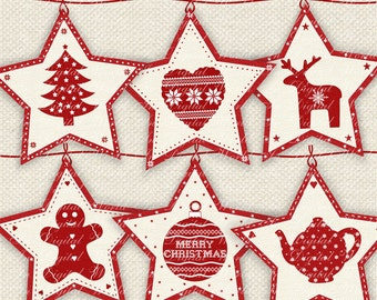 Christmas Red Star Nordic Style Banner Bunting Flags Pennants Digital  Printable Download