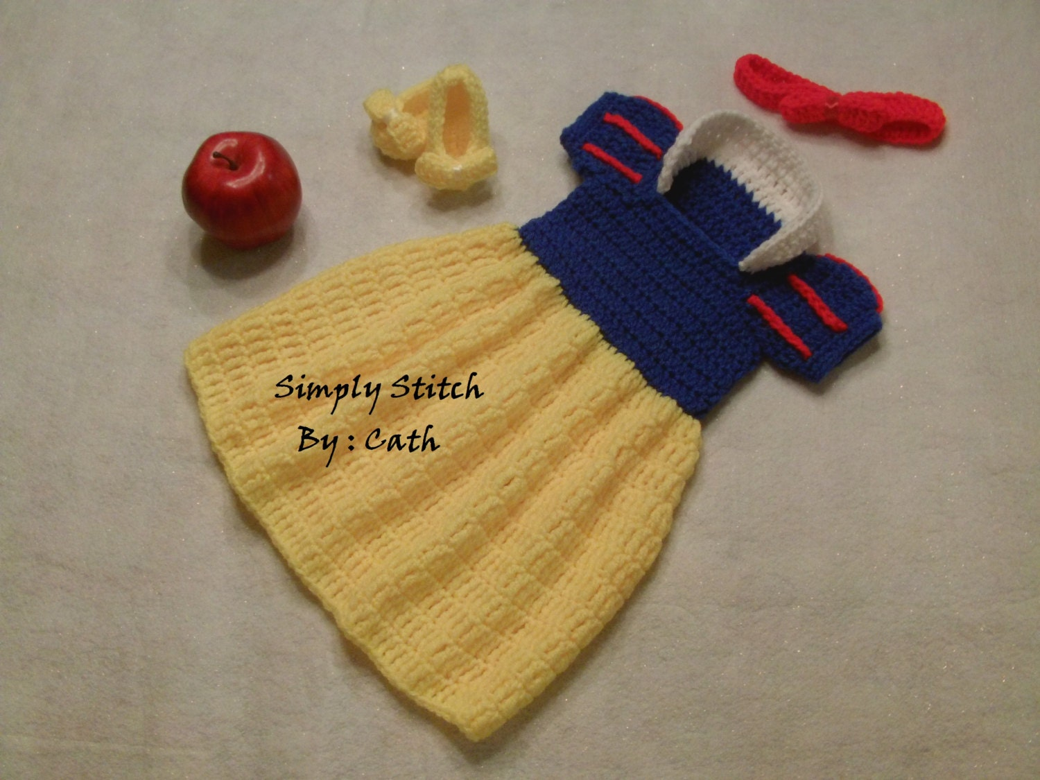 Free Crochet Pattern For Snow White Dress : Snow White Inspired Dress set Baby Photo props by ...