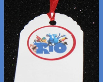 Rio gift tag, Rio birthday tag, Rio party favor tag, set of 10