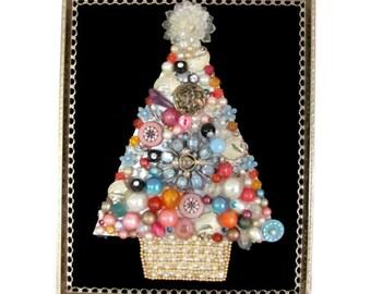 Vintage Christmas Picture, Vintage Jewelry Christmas Tree Picture, Wall Hanging, Jewelry Tree, Christmas Decor, Mid Century