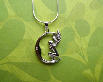 Fairy on crescent moon sterling silver pendant necklace