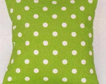 PILLOW COVER Throw Premier Prints Handmade Custom Modern Accent Pillows 14 16 18 20 24 Polka Dots Chartreuse White