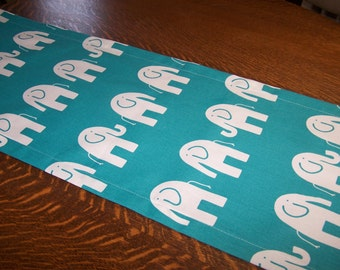 Table Runner, Table Cloth, Premier Fabric,  Turquoise, True Turquoise, Elephant, Ele, Buffet Table, Birthday Party, Nursery, Baby Shower