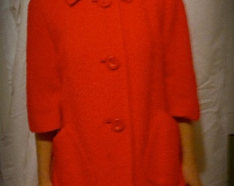 1950's Mohair and Wool Trapeze Coat, Custom Made, Size 8, Silk Lined, Vibrant Cherry Red