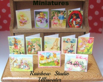 dollhouse miniature victorian inspired  easter cards x 12 lakeland artist new