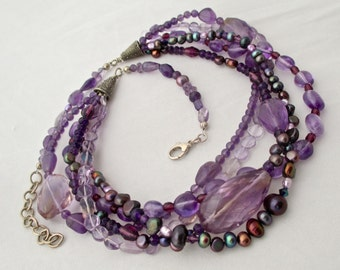 5 Strand Amethyst, Pearl and Crystal Necklace with Bali and Sterling Silver