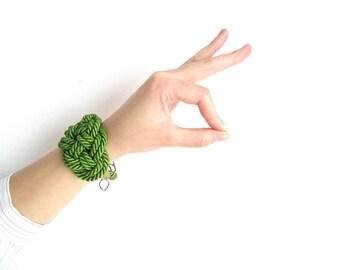 Green Rope bracelet Rope knot bracelet