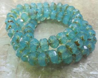 Czech Glass Rondelle, Aqua Opaline Bead with Picasso, 7x5 mm. 25 pieces